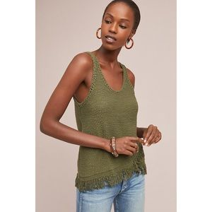 ANTHRO Akemi + Kin | Green Fringed Sweater Tank